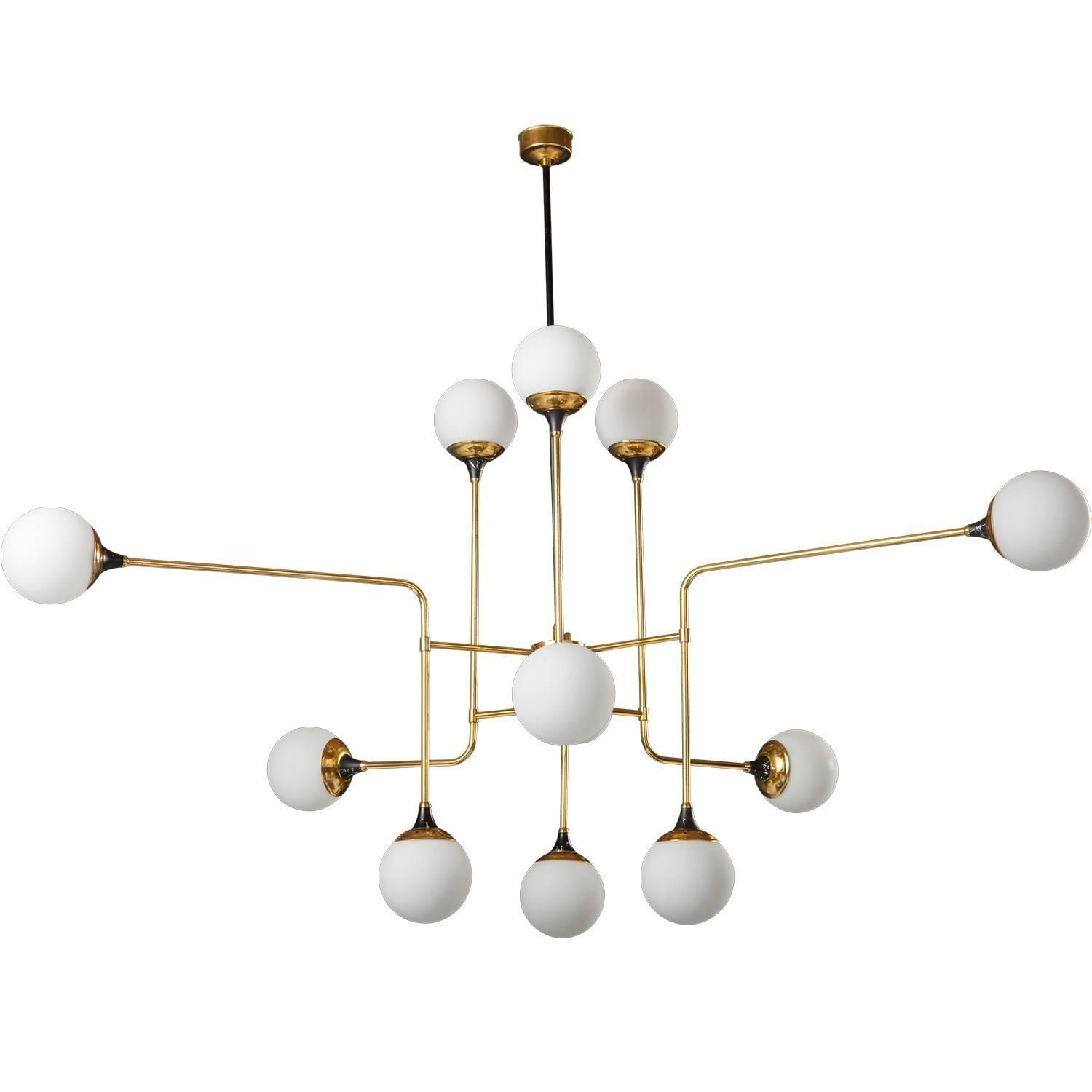 Brass or Opaline Glass Chandelier | From a unique collection of antique and modern chandeliers and pendants at https://www.1stdibs.com/furniture/lighting/chandeliers-pendant-lights/