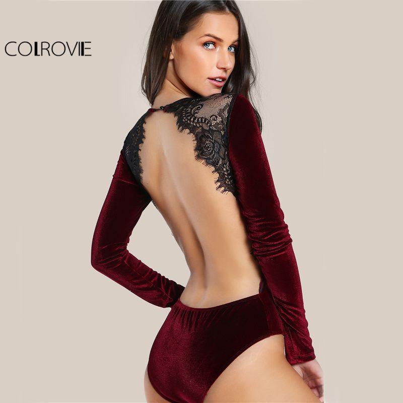 fcd80e166f4b COLROVIE Backless Velvet Lace Bodysuit Burgundy Elegant Women Applique Long  Sleeve Bodysuit New Sexy Vintage Party
