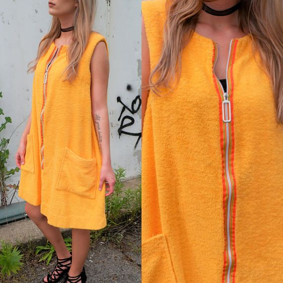 63dbbdc967 70 s Yellow Terry Cloth Moo Moo Dress   Cover-up with Deep Pockets ...