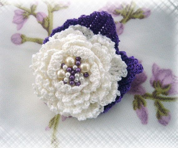 Crochet Cotton Corsage Brooch White Lilac Flower By Craftsbysigita Www Etsy Com Shop Craftsbysigita Crochet Flowers Crochet Rose Knitted Flowers