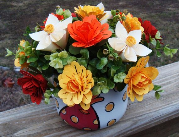 Origami Bright And Colorful Paper Flower Arrangement In A Large