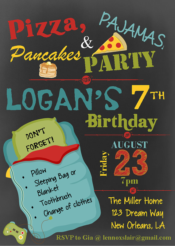 Boy Pizza Pajama Pancake Party Slumber by LennoxLairDesigns – Pancake Party Invitations