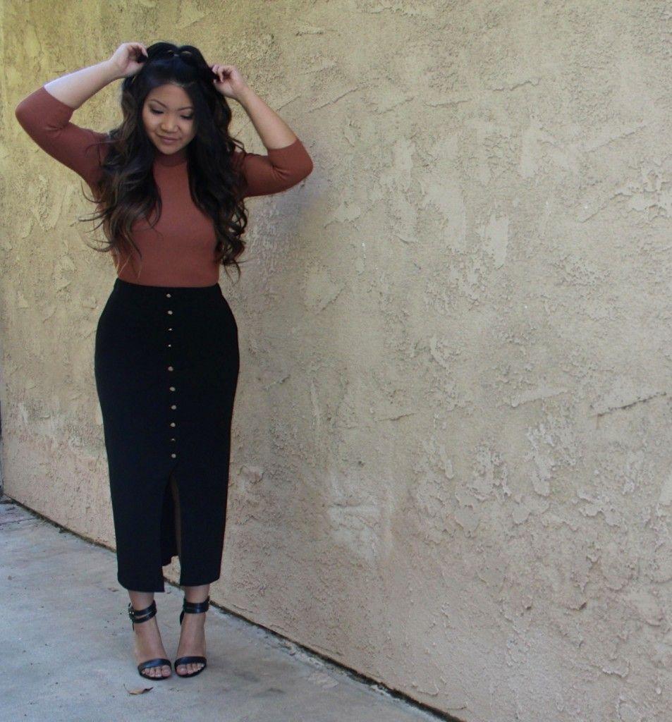 Black High Waist Button Skirt | Tia Alese Wong