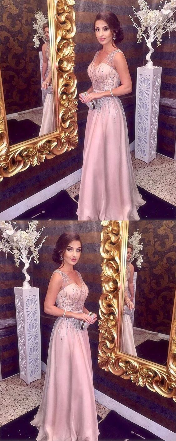 UPD0236, Sparkly Beading Prom Dress, V neck A Line Prom Dress ...