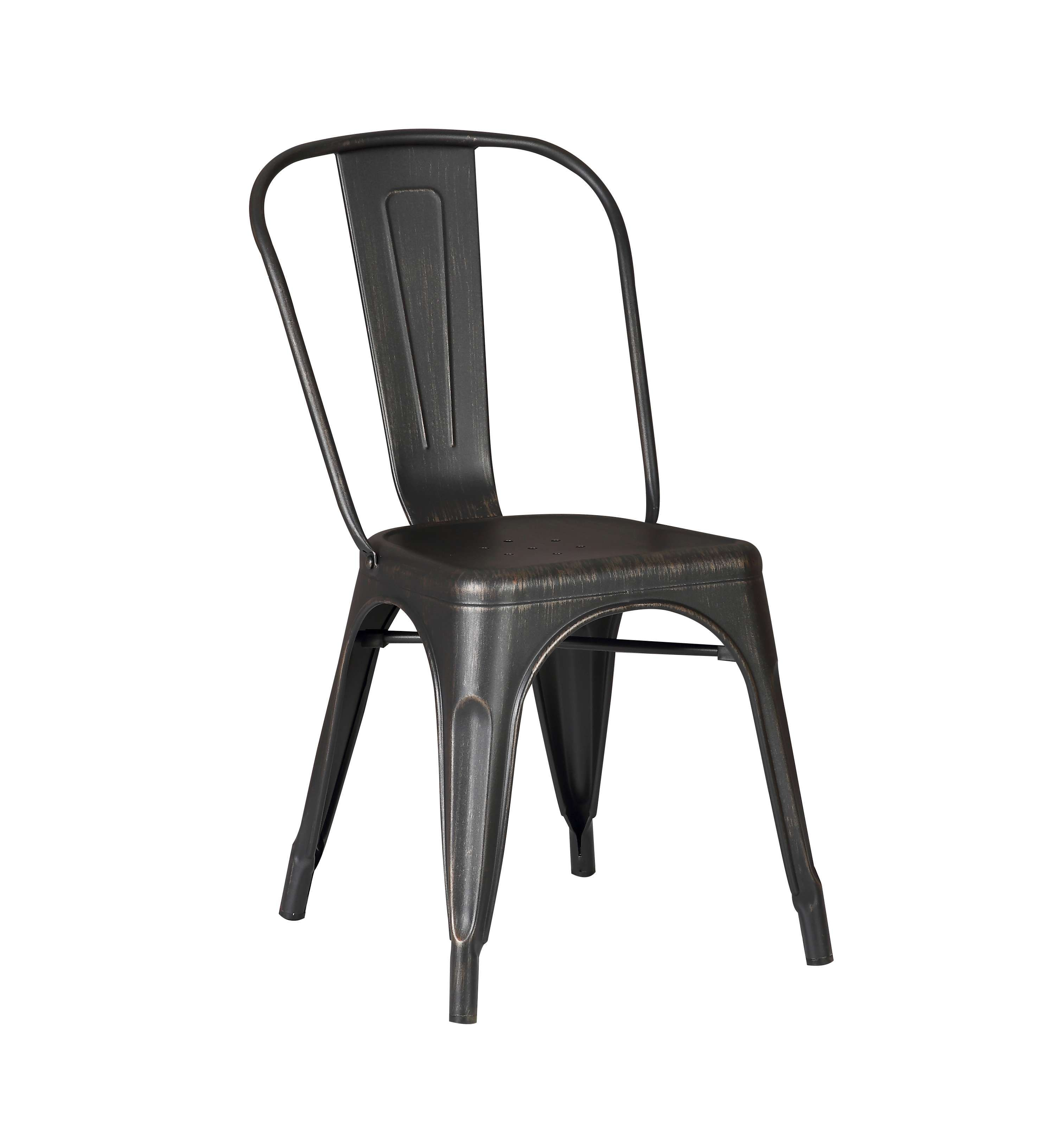 Lowest Price On Ac Pacific Distressed Black Metal Dining Chair 18