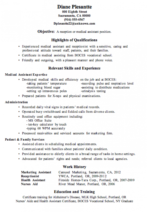 resume sample receptionist or medical assistant  good summary for entry level career format download in word free