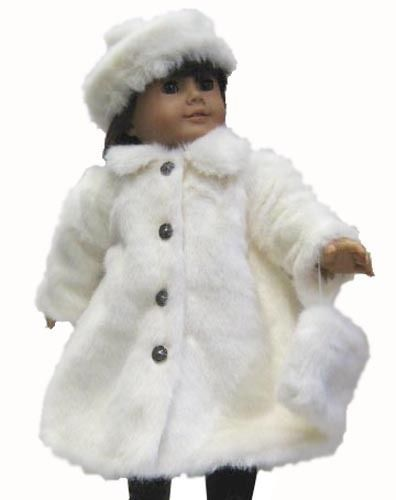 """White Fur Coat Hat & Muff for 18"""" American Girl Doll Clothes #DollClothesSewBeautiful"""