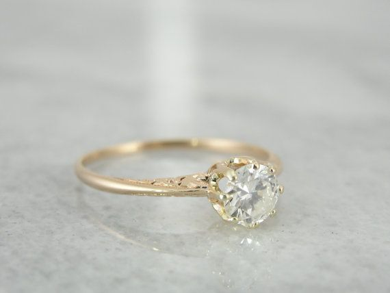 Affordable Antique Yellow Gold Diamond Filigree Engagement Ring