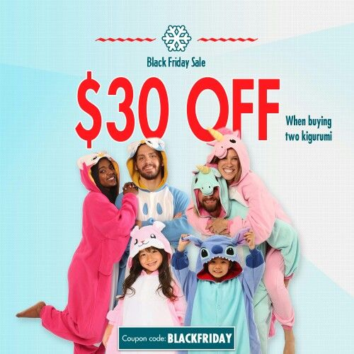 BLACK FRIDAY SALE: Buy two kigurumi and save $30 on your next order at www.kigurumi-shop.com!  Just use coupon code BLACKFRIDAY now through Monday, Dec. 1st and you'll be guaranteed the coziest of winters!