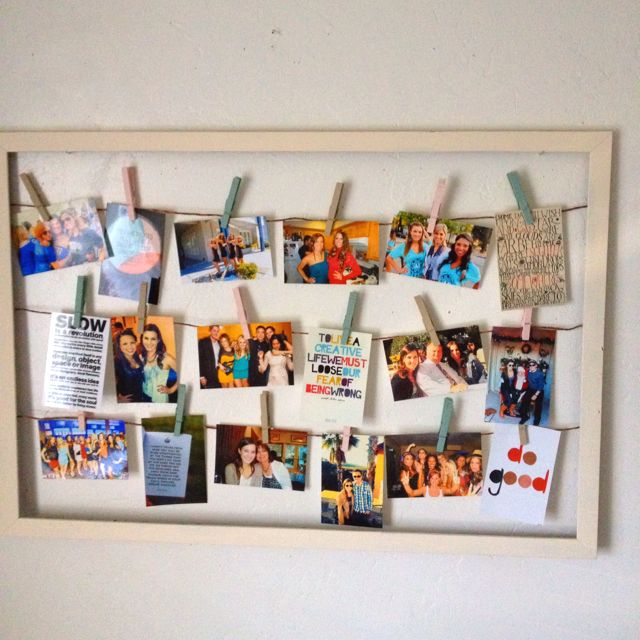 Hang your favorite pictures with clothes pins in a large frame one ...