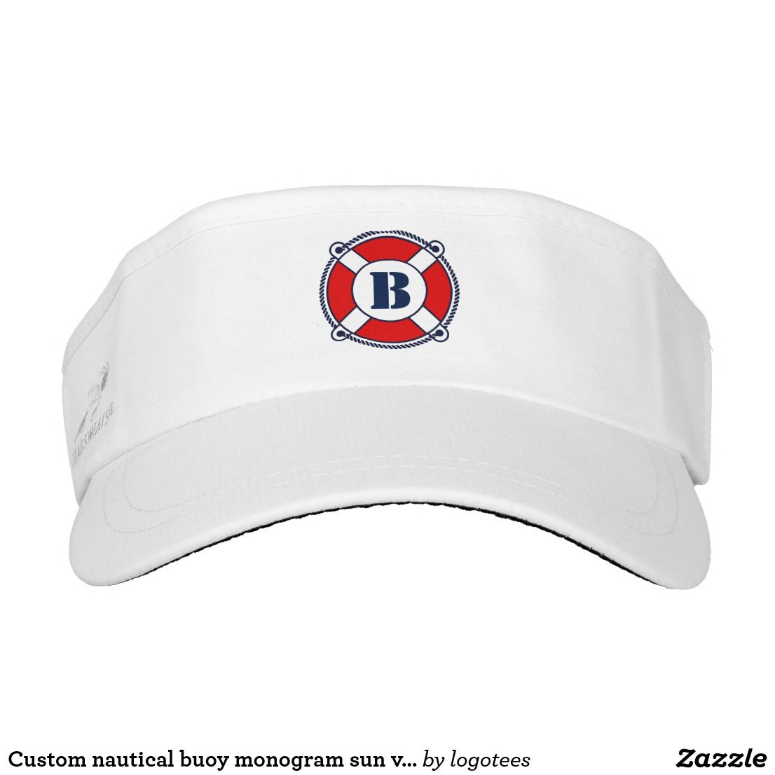 Custom nautical buoy monogram sun visor cap hat  e247f6116adc