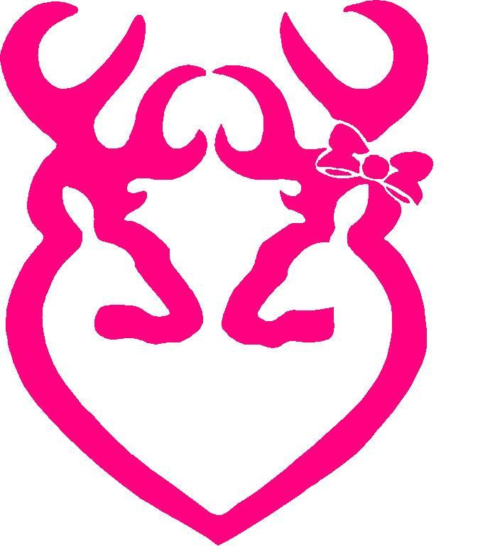 hot pink browning deer buck heart decal sticker for car