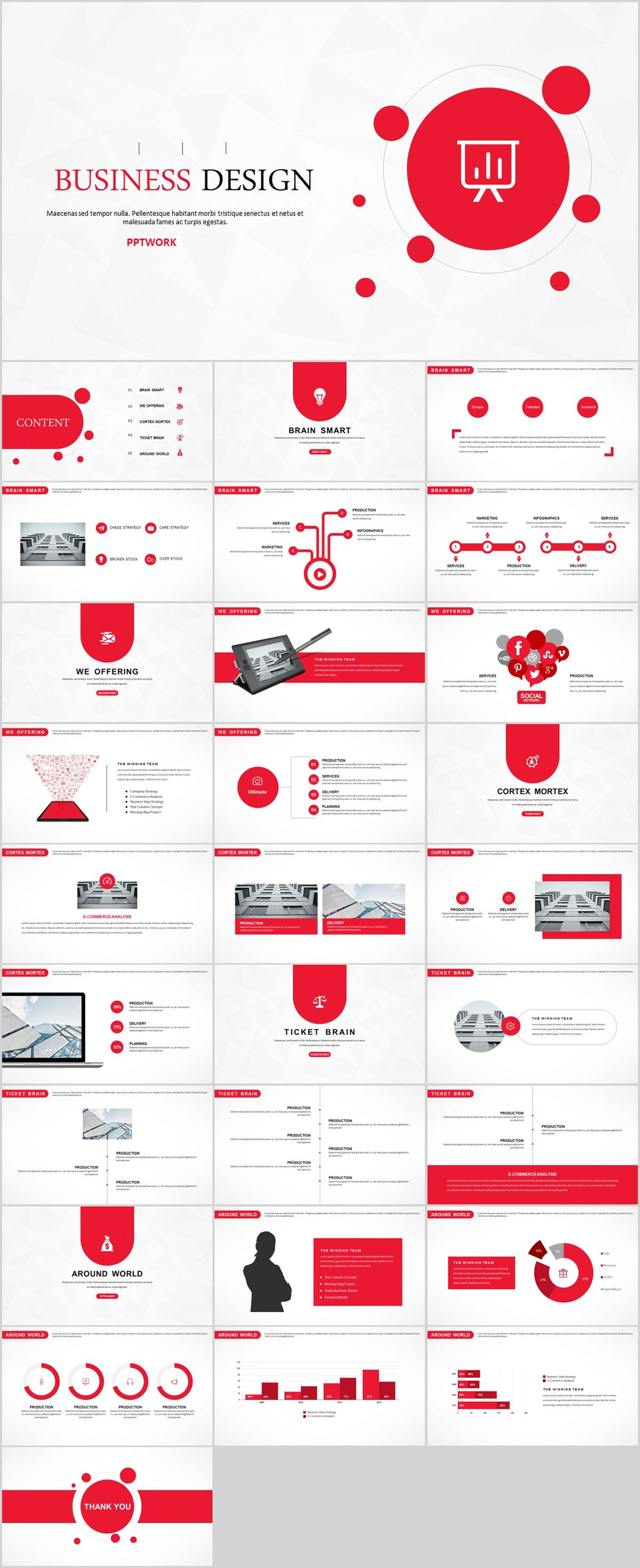 29 red creative business design powerpoint template on behance