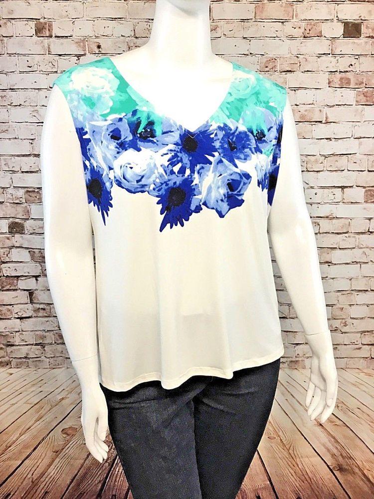 9a770321fe812 CALVIN KLEIN Plus White Blue Floral Sleeveless Stretch Knit V-Neck Top   CalvinKlein  Blouse