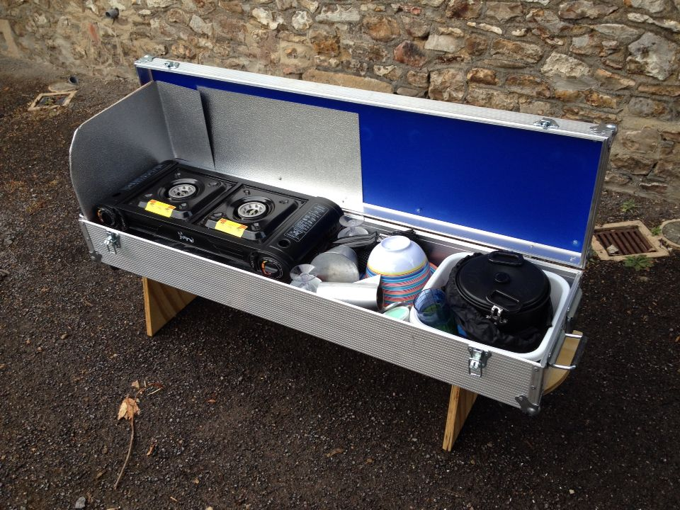 Flight Case Kitchen Lifts Out On Stand To Go In The Awning Outdoor Camping Kitchen Camping Chuck Box Motor Home Camping