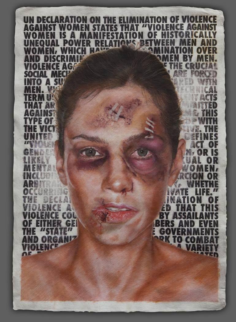 Original Political Painting by Sebastien Shahmiri | Realism Art on Paper | Violence