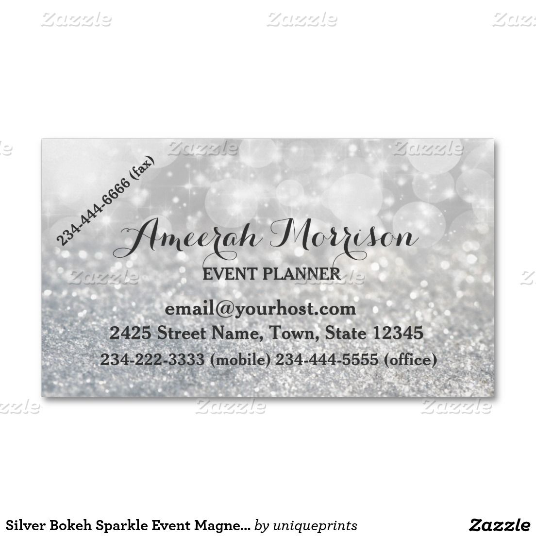 Silver bokeh sparkle event magnetic business card pinterest silver bokeh sparkle event magnetic business card magnetic business cards stopboris Image collections