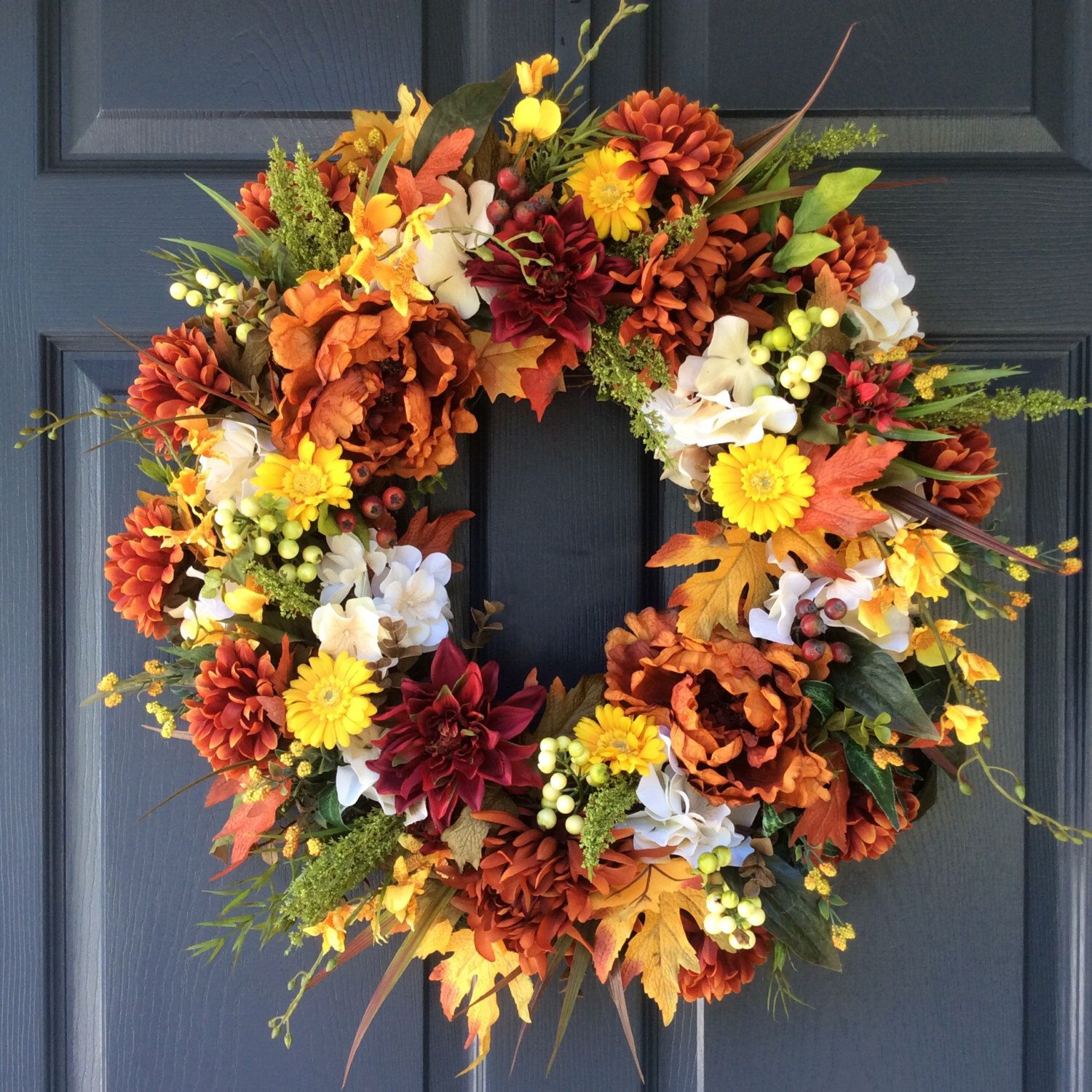 AUTUMN WREATH Fall Wreaths Front Door Decor Harvest Decor Wreaths Hydrangea