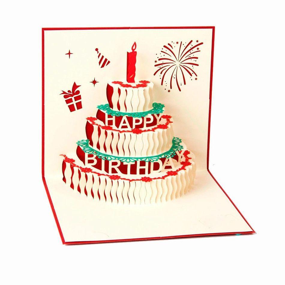 Happy Birthday Card Birthday Cake Papercraft 3D Pup Up Greeting – Papercraft Birthday Card