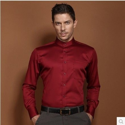 Click to Buy << New Fashion High Quality Men Long Sleeve Formal Red ...