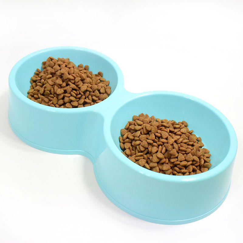 pet cat double bowl utensils plastic cat dog food bowls water bowl free shipping pet supplies