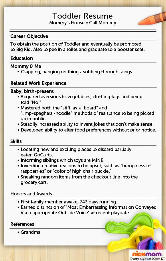 What Do Resumes Look Like Here Is What Your Toddler Resume Would Look Likerobyn Welling