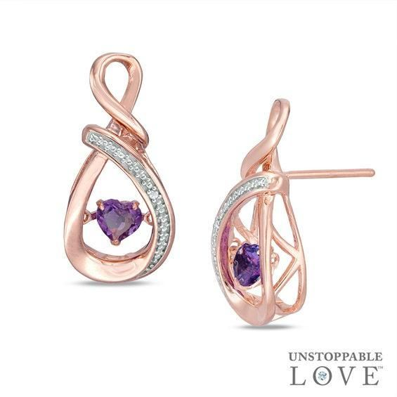 Zales Baguette Lab-Created Ruby and Amethyst Hoop Earrings in Sterling Silver with 14K Rose Gold Plate DLxMJ6Eeuy