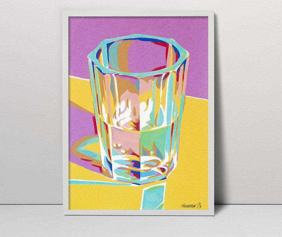 Handmade screen print painting Faceted wine glass serigraph ...