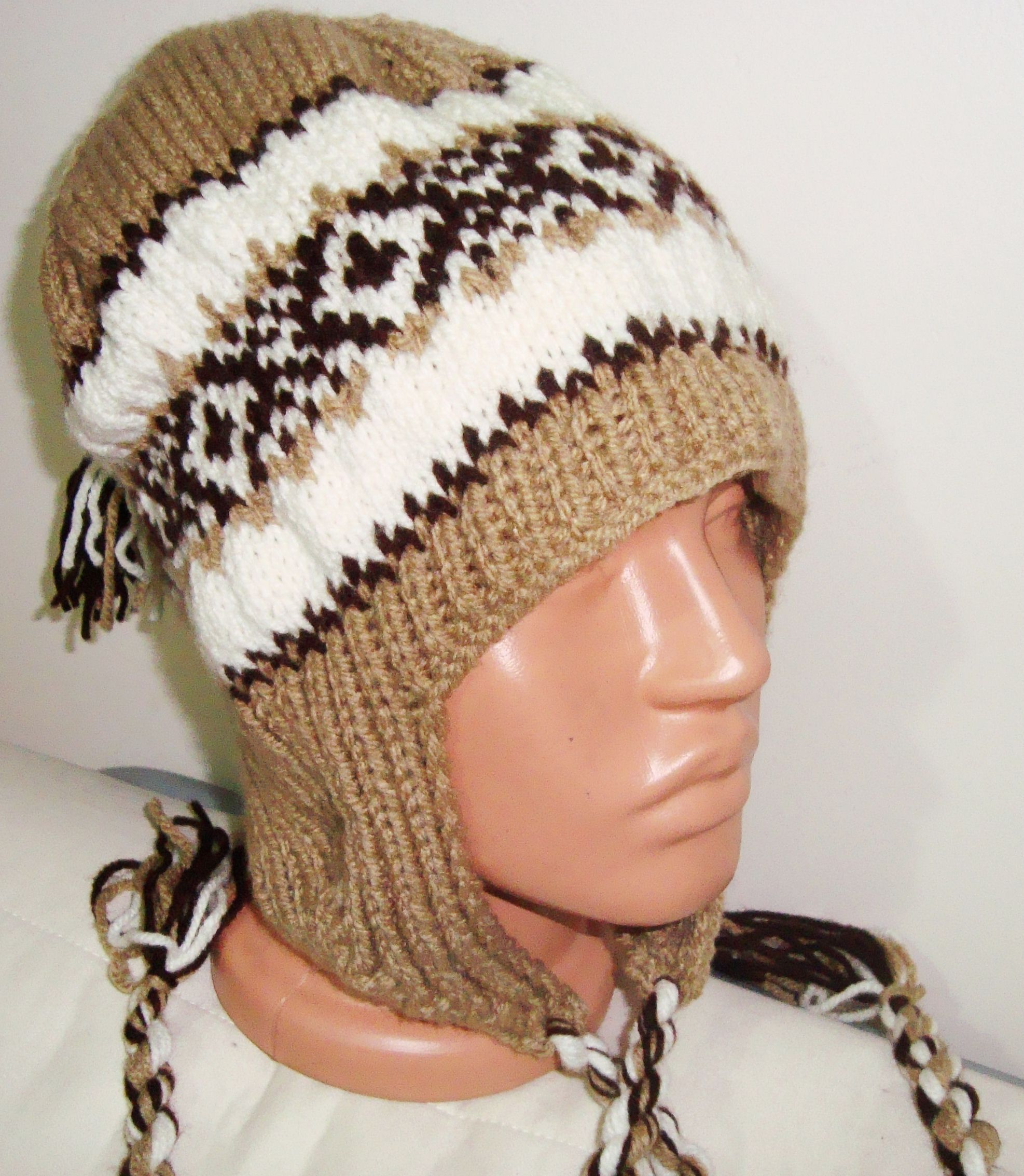 Hand Knit Ear Flap Hat for Man Woman