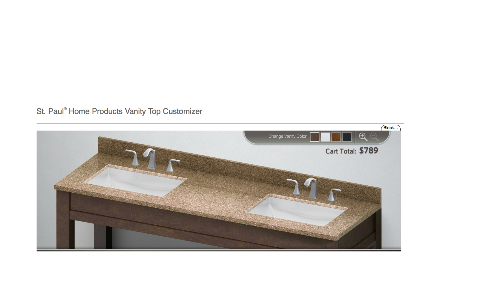 St Paul Vanity Top Rocky Road Double Sink Under Mount Square Sinks