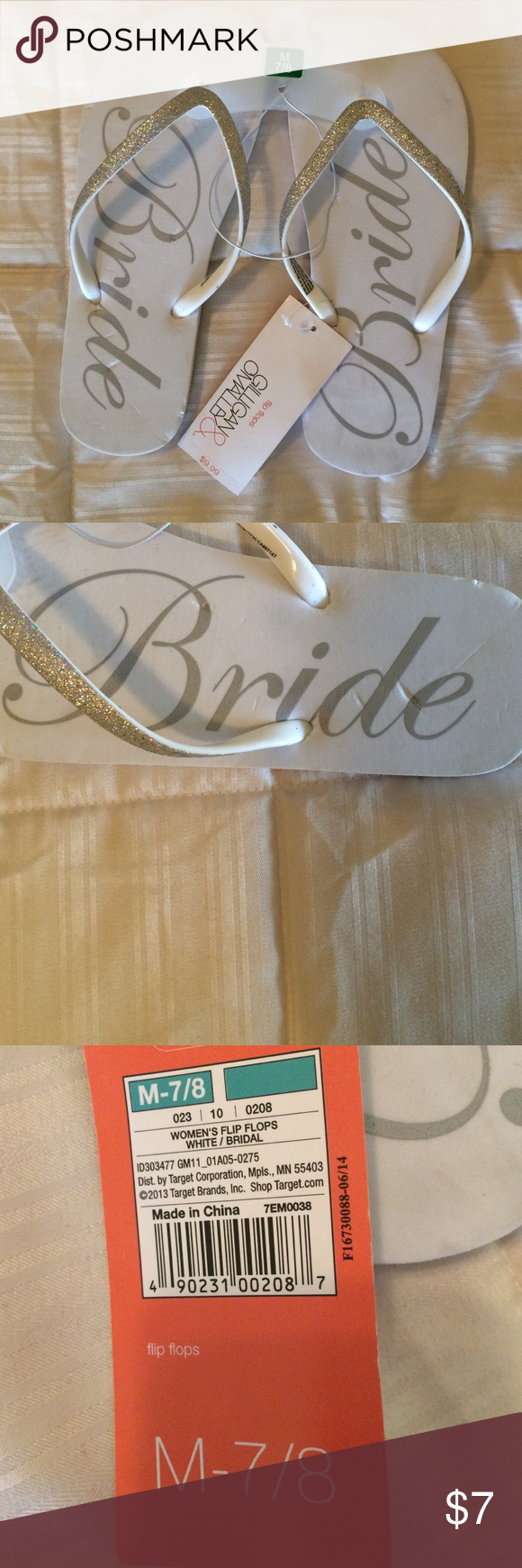 a79e62fc5 NWT Target bridal flip flops Cute flip flops for a bride to be! White with  sparkly accent and  Bride  written on the bottom. Never worn!