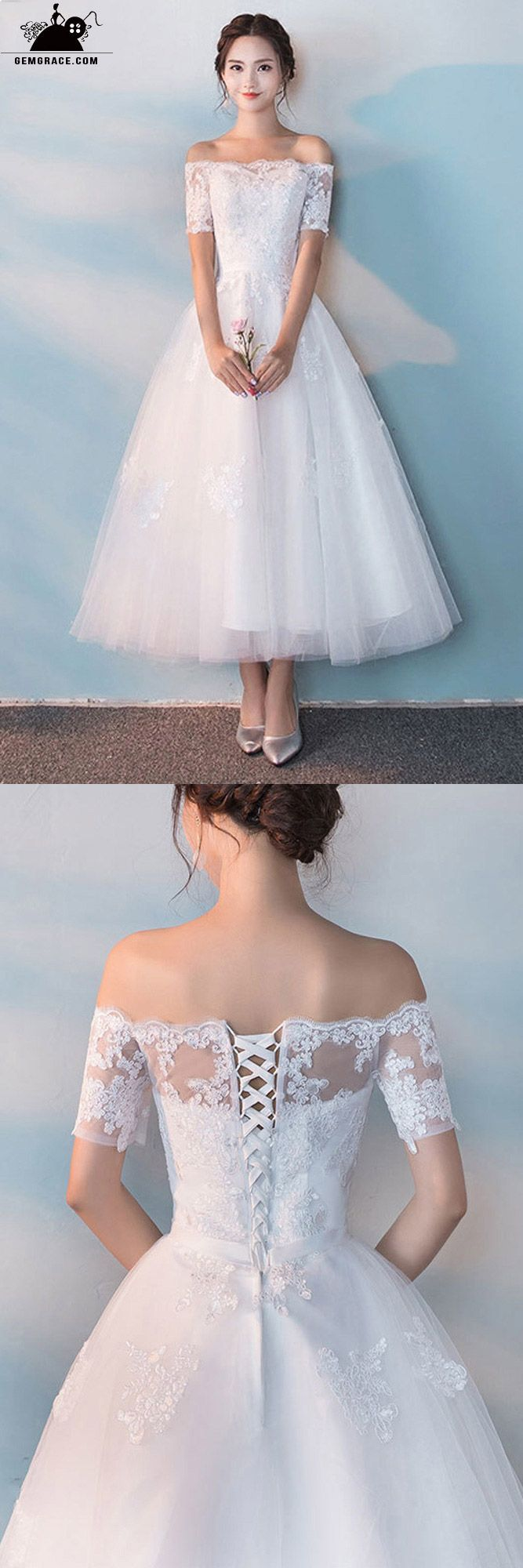 Off shoulder white tea length wedding dress with sleeves sweet