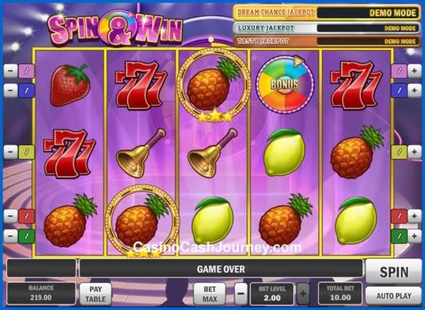Spin and Win is a 5-reel, 5 payline, Play'n Go progressive video slot machine.  More this way... http://www.casinocashjourney.com/slots/playn-go/spin-and-win.htm