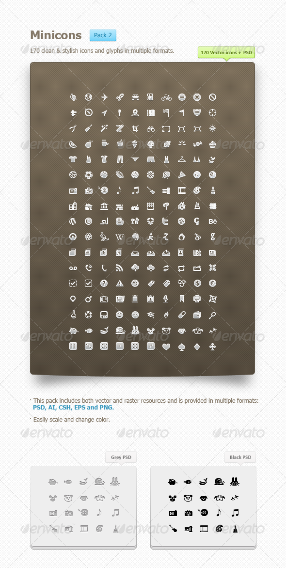 Minicons Pack 2 (170 vector icons + PSD/CSH) - GraphicRiver