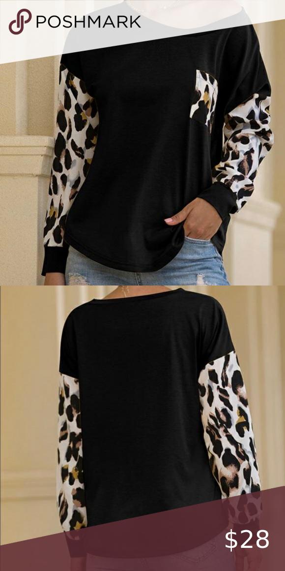 NWT Black and Animal Print Sleeve Top