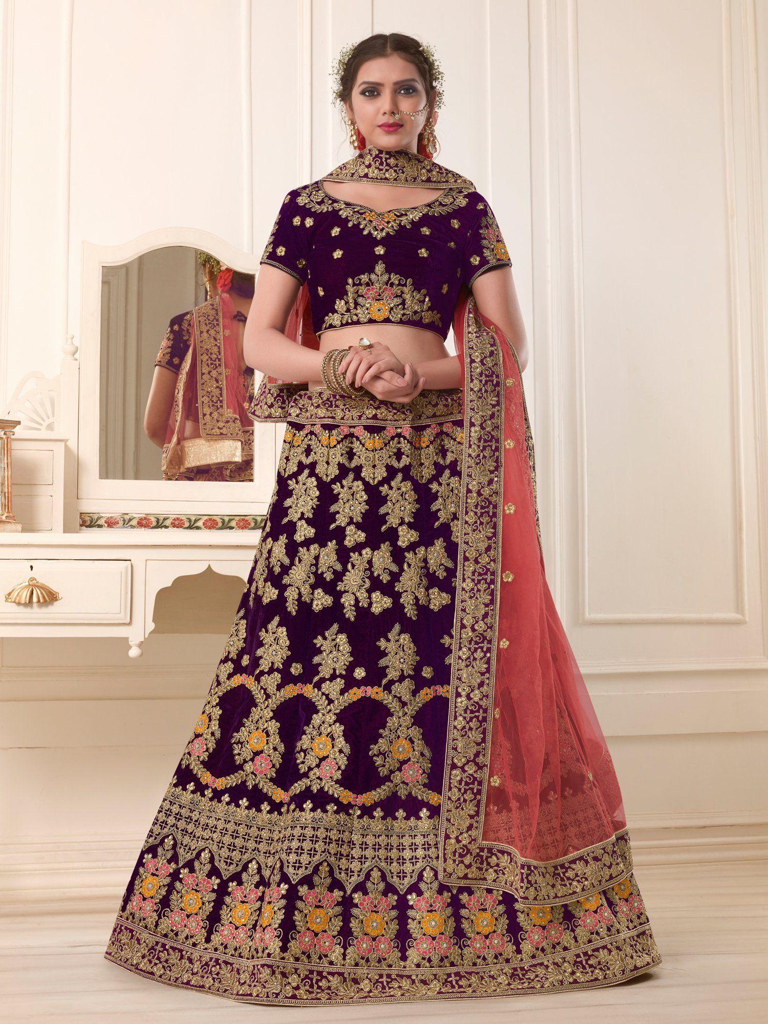 d75c4bad3b Buy Purple Color Pure Two Tone Velvet Semi Stitched Lehenga | Zinnga  ✓️Whatsapp: +91 9246261661 #lehenga #lehengacholi #fashion #wedding  #indianfashion ...