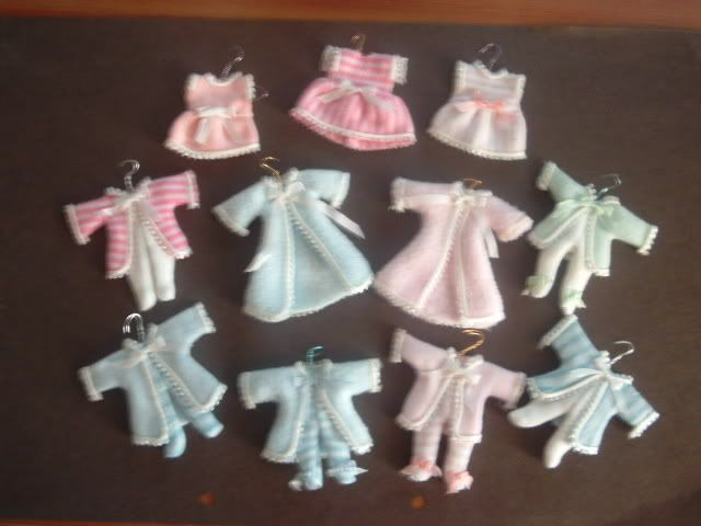 Display Baby outfits I made on holiday.
