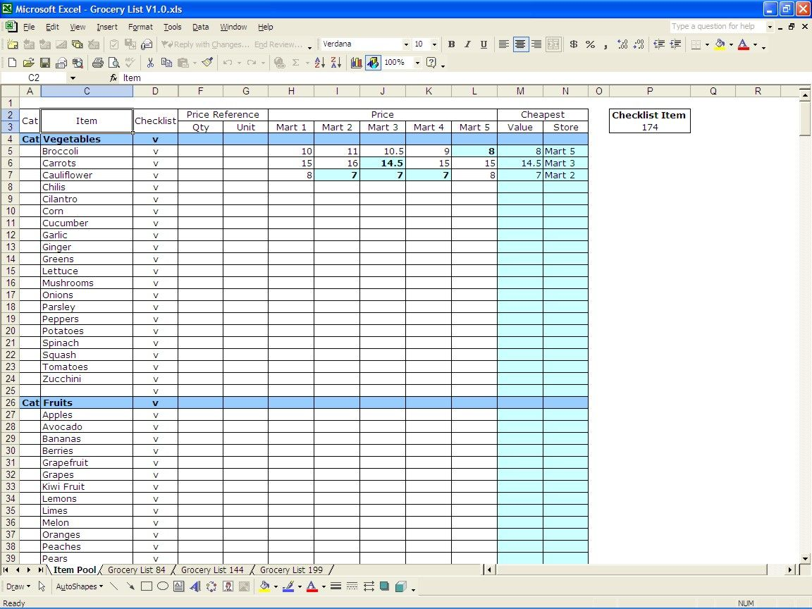 Grocery List Excel Templates Grocery List Template Grocery Price Grocery Price Comparison