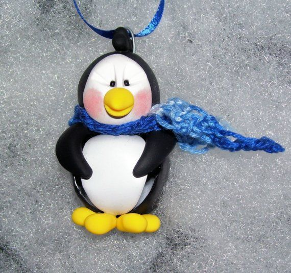 Penguin Jingle Bell Buddy Polymer Clay Christmas Ornament - Free Personalization