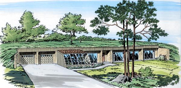Retro Style House Plan 10376 With 3 Bed 2 Bath 2 Car Garage Earth Sheltered Homes Earth Sheltered Earth Homes