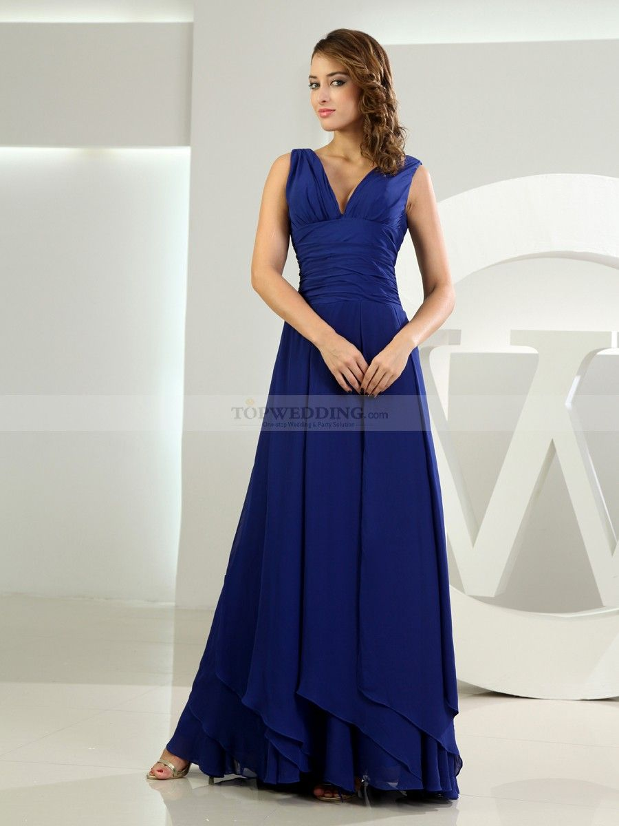 Chiffon Sleeveless Deep V Neck A Line Bridesmaid Dress