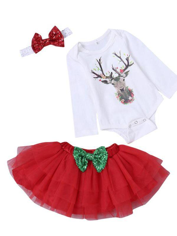 213a3716ce1f Christmas 3pcs Toddler Kids Baby Girls Clothes Outfit Set Cute Headband and  Deer Print White Long Sleeve Rompers and Red Tulle Layered Skirt   instababies ...