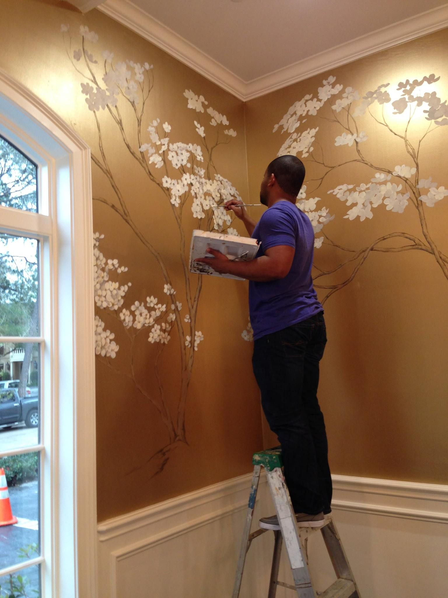 Hand painted cherry blossoms on metallic gold wall for How to make metallic paint