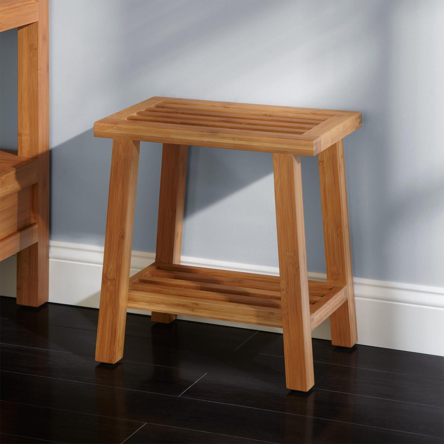 Amazing Freestanding Bamboo Slotted Bathroom Stool