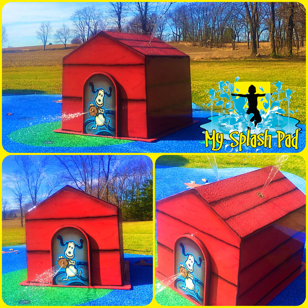 this colorful dog house above ground splashpad water play feature