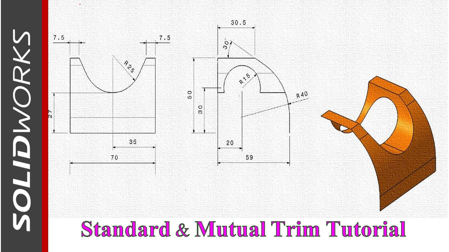 Solidworks Basic Surfacing Exercise Using Trim Tool Surface Modeling Mechanical Design Solidworks