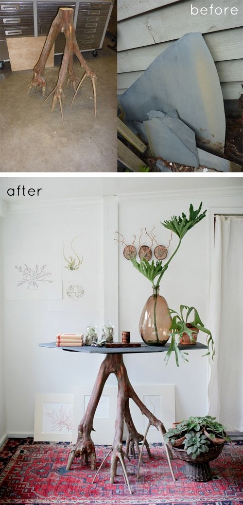 A salvaged piece of a crape myrtle tree, combined with a piece of slate to make a table -- interesting DIY idea.  #reuse #repurpose
