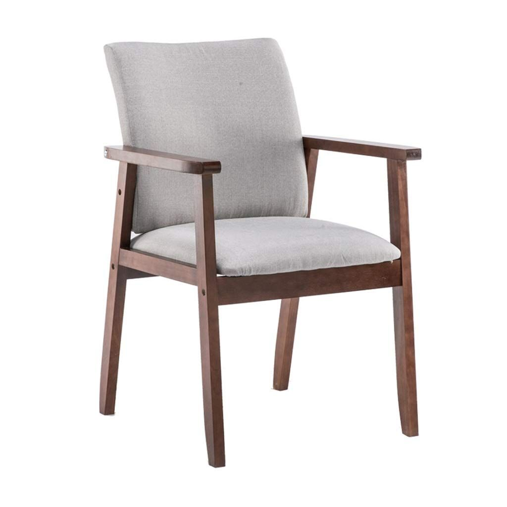 Dining chairs walnut color wooden armrest cushion textile