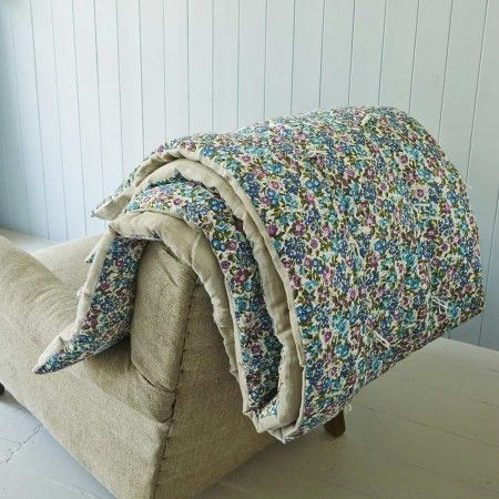 Abondance Quilted Throw in Blue www.grahamandgreen.co.uk
