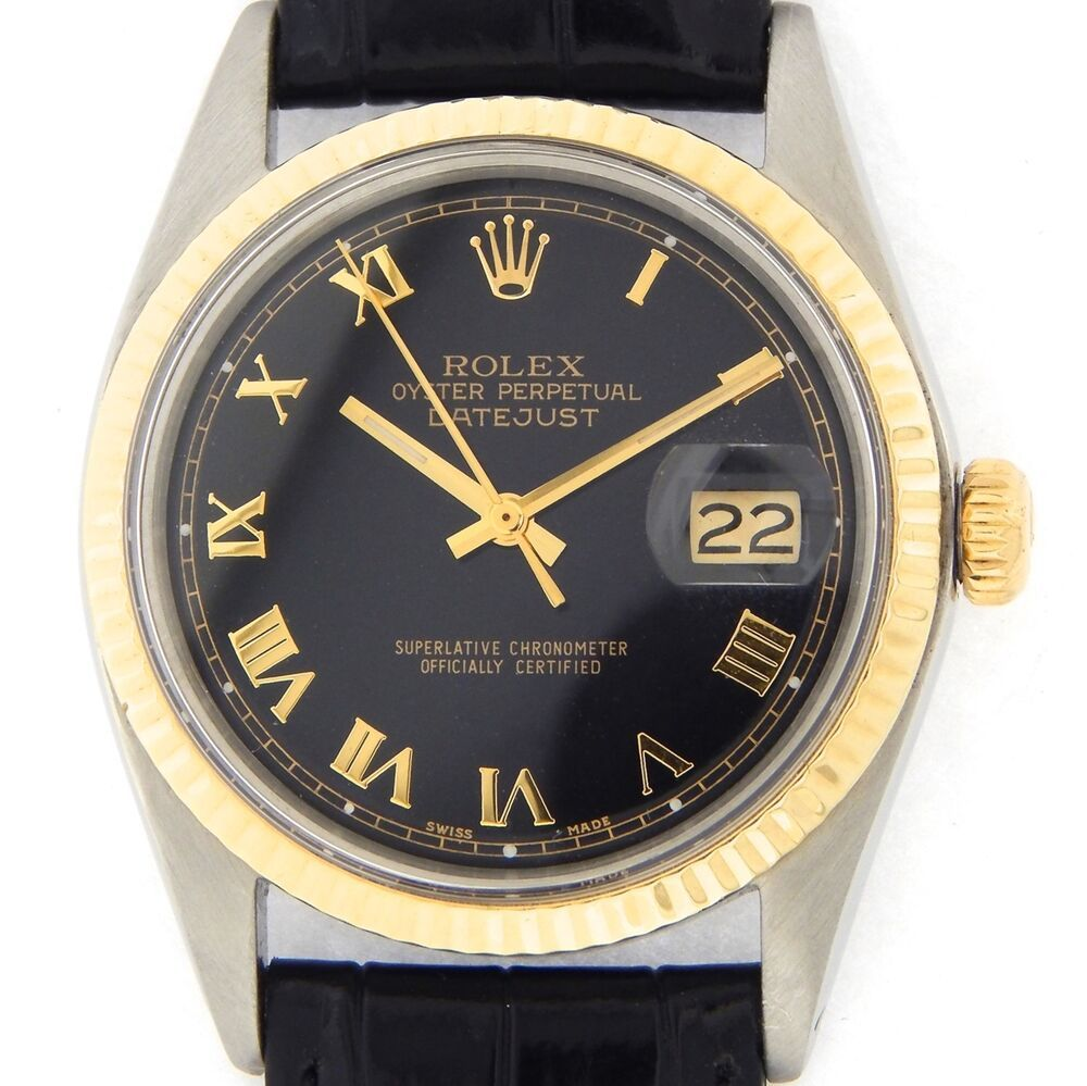 Rolex Datejust 1601 Mens 14k Yellow Gold Stainless Steel Watch Black Roman Dial Vintage Watches Rolex Datejust Men Rolex Watches For Men